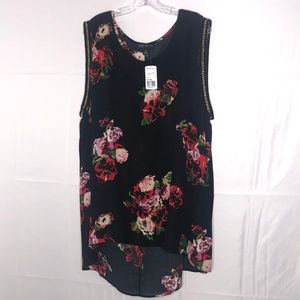 Forever 21 Plus High Low Rose Tank with Chain NWT